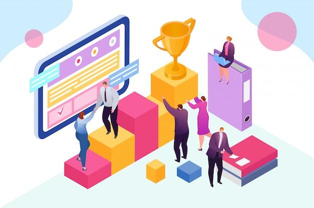 Teamwerkconcept, groep bedrijfsmensen die vóór succesvol project samenkomen en groepswerksteun en helpconceptillustratie vertegenwoordigen. teamvergadering en samenwerking.