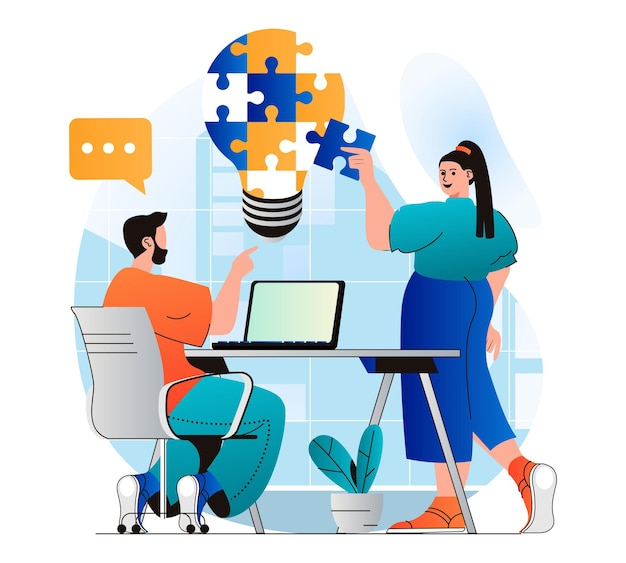 Teamwerkconcept in modern plat ontwerp teamwerk op kantoor genereert ideeën, brainstorms
