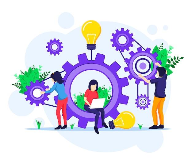 Teamwerkconcept, mensen die een reeks tandwielen samenstellen, koppelingen van de illustratie van het mechanisme