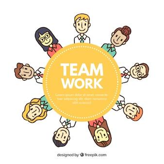 Teamwerkconcept met gelukkige karakters