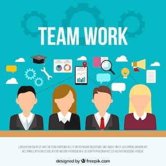 Teamwerkconcept met vlakke bedrijfsmensen