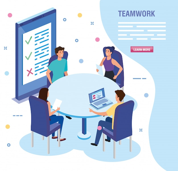 Teamwerkmensen bij het ontmoeten van avatar tekensjabloon