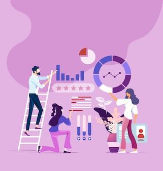 Teamwerkproces en marketingonderzoekconcept