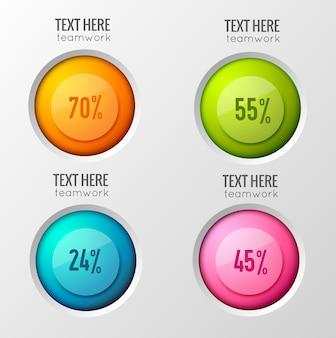 Teamwork bedrijfsconcept met interactieve poll-opties met ronde kleurrijke knoppen en percentage met tekstbijschriften