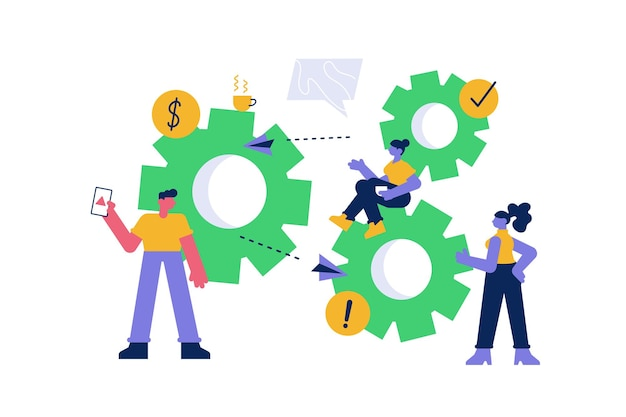 Teamwork bedrijfsorganisatie en team toegewijde samenwerking
