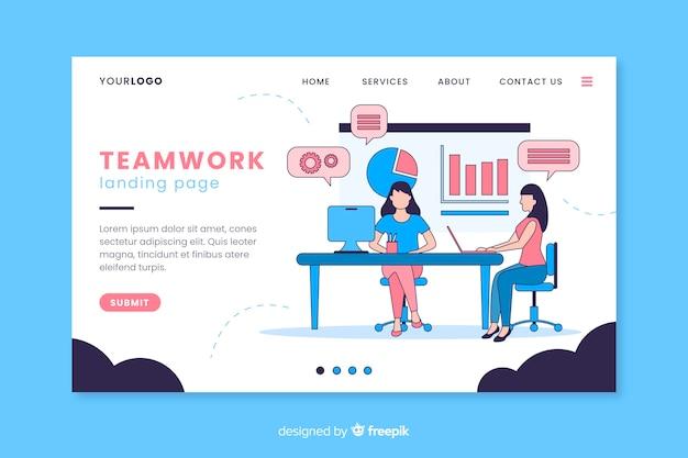 Teamwork bestemmingspagina digitaal ontwerp