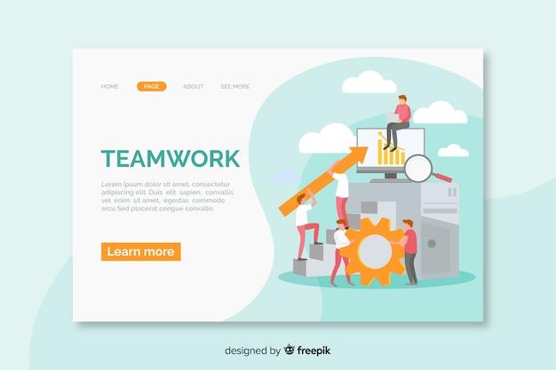 Teamwork-bestemmingspagina met informatie