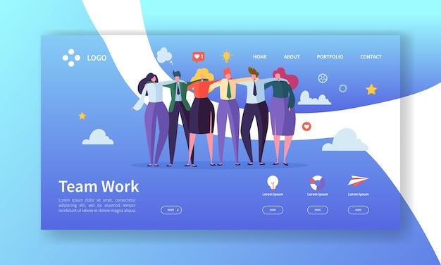 Teamwork bestemmingspagina sjabloon. creatief procesconcept met mensenpersonages die website of webpagina samenwerken.