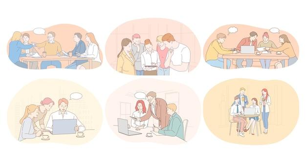 Teamwork, brainstormen, kantoor, onderhandelingen, werken, samenwerking, samenwerkingsconcept.