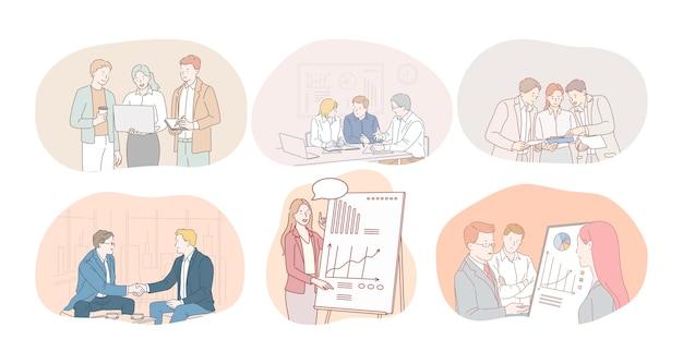 Teamwork, brainstormen, marketing, financiën, ontwikkeling, onderhandelingen, overeenkomstconcept.