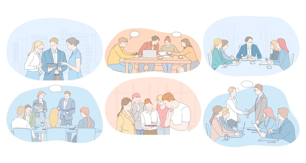 Teamwork, brainstormen, onderhandelingen, vergadering, zakenpartners concept.