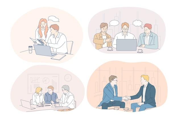 Teamwork, brainstormen, zaken, onderhandelingen, deal, kantoor, samenwerkingsconcept.