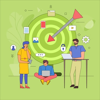 Teamwork building business industrie van doelgroep. pictogram grafische stijl lijn cartoon. illustreren.