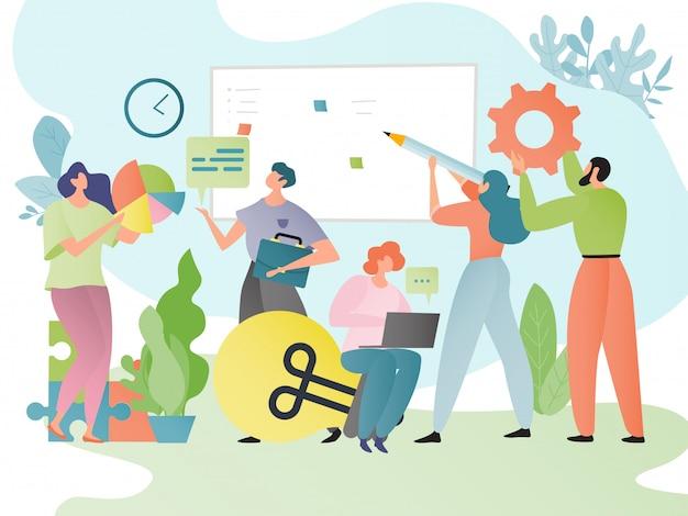 Teamwork business concept illustratie. mensen stripfiguren werken samen in team. teamgenoten brainstormen.