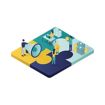 Teamwork concept isometrische illustratie samenwerking partnerschap concept illustratie in isometrische stijl.