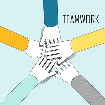 Teamwork concept: mensen overlappen hun handen samen om elkaar in lijnstijl aan te moedigen
