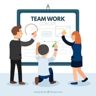 Teamwork concept met bedrijfspresentatie