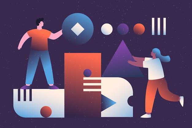 Teamwork concept met geïllustreerde mensen