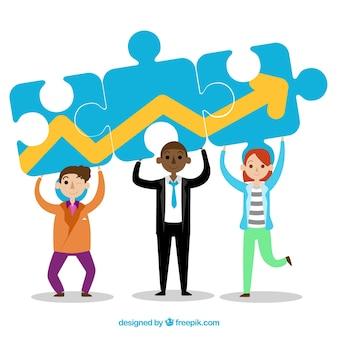 Teamwork concept met platte ontwerp