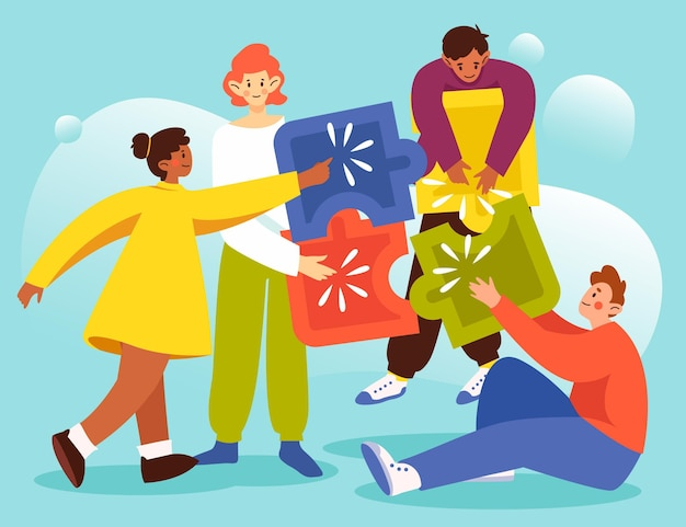 Teamwork concept met puzzelstukjes