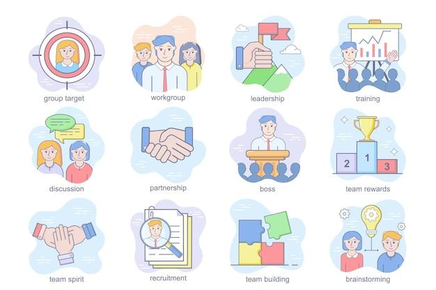 Teamwork concept plat pictogrammen set bundel van groepsdoel werkgroep leiderschap training discussie deel...