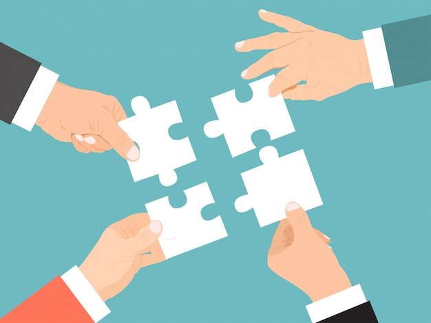 Teamwork, concept samenwerking ondernemers in succesvolle zaken, werkpartners in team, ontwerp, vlakke afbeelding.