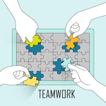 Teamwork concept: vier handen doen puzzel samen in lijnstijl