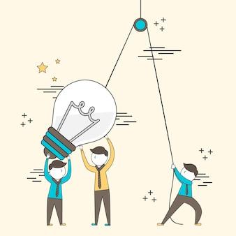 Teamwork concept: zakenlieden opzetten van een grote gloeilamp in lijnstijl