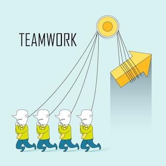 Teamwork concept: zakenlieden trekken een pijl samen in lijnstijl