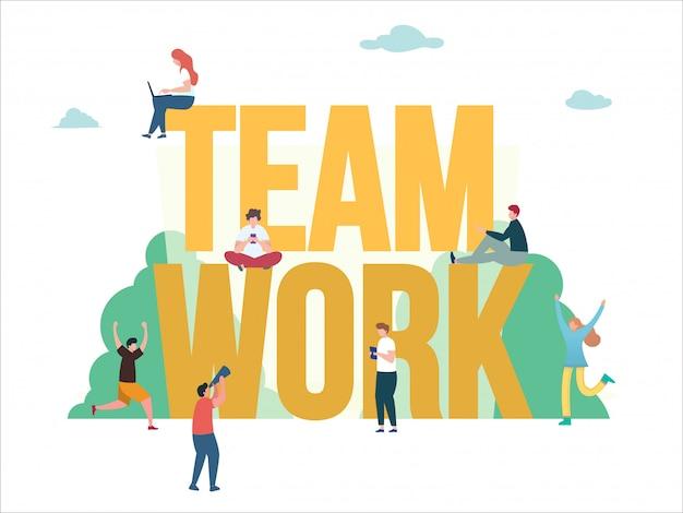 Teamwork design concept illustratie, mensen werken samen en bereiken het succes