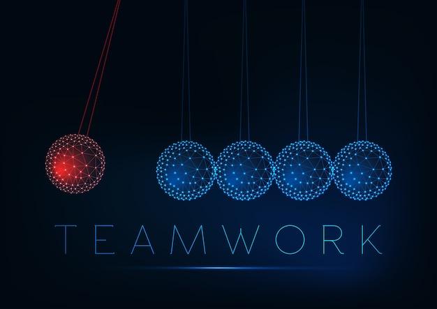 Teamwork en individueel werkconcept met gloeiende lage veelhoekige newton-wieg.
