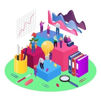 Teamwork en ontwikkeling data-analyse grafieken en data isometrische illustratie. financieel rapport en strategie. zakelijk teamwerk voor investeringsgroei, marketing en management in teamverband.
