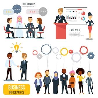 Teamwork en partnerschap zakelijke infographics set