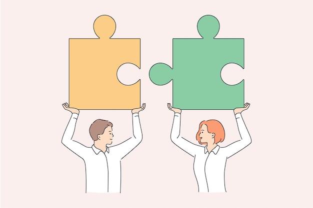 Teamwork en samenwerking in bedrijfsconcept. jonge man en vrouwenpartners die reusachtige stukken van één puzzel houden die naar elkaar toe gaan als teamvectorillustratie