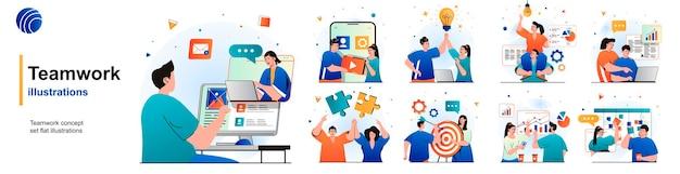 Teamwork geïsoleerde set collega's werken samen brainstormen over samenwerking van scènes in flat