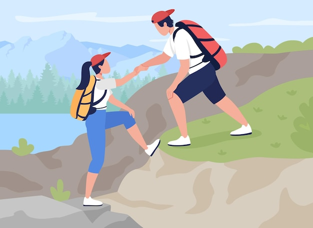 Teamwork in bergbeklimmen flat. de wildernis verkennen via extreme activiteiten.