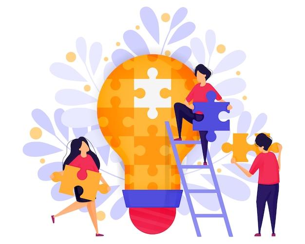 Teamwork in business om puzzels op te lossen om ideeën te vinden.