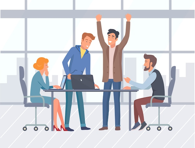 Teamwork, kantoorinterieur en werknemers, bedrijven