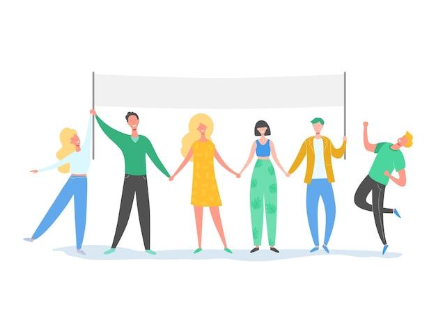 Teamwork karakters staan in de rij met tekstbord. glimlachende mensen illustratie. vriendschap, leiderschap, zakelijk team, sociaal diversiteitsconcept