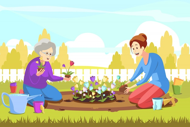 Teamwork, landbouw, tuinieren, planten, natuurconcept