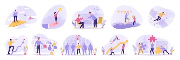Teamwork, leiderschap, motivatie, doel, succes, idee, tarief, bedrijfsconcept