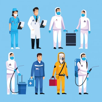 Teamwork medisch personeel om de covid te behandelen 19