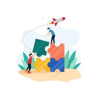 Teamwork mensen met puzzelstukjes