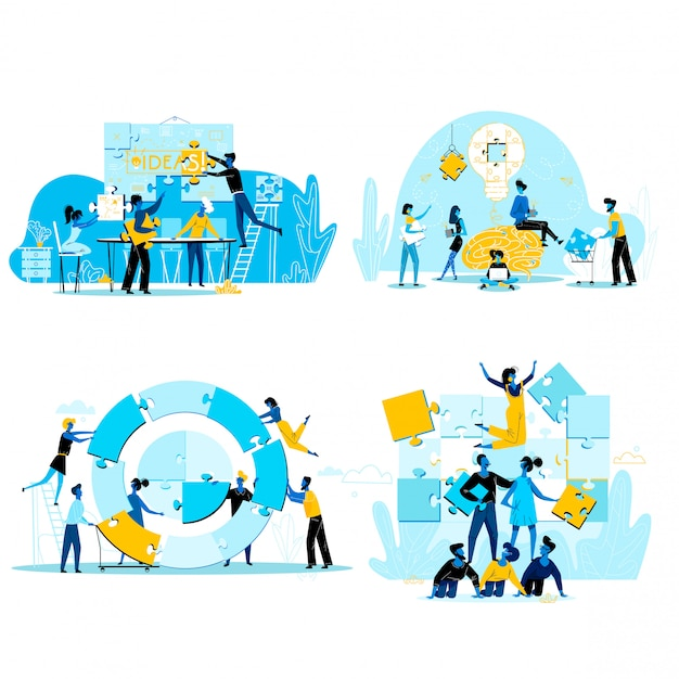 Teamwork mensen uit het bedrijfsleven instellen geïsoleerd op wit