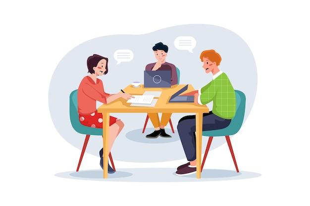 Teamwork op kantoor illustratie