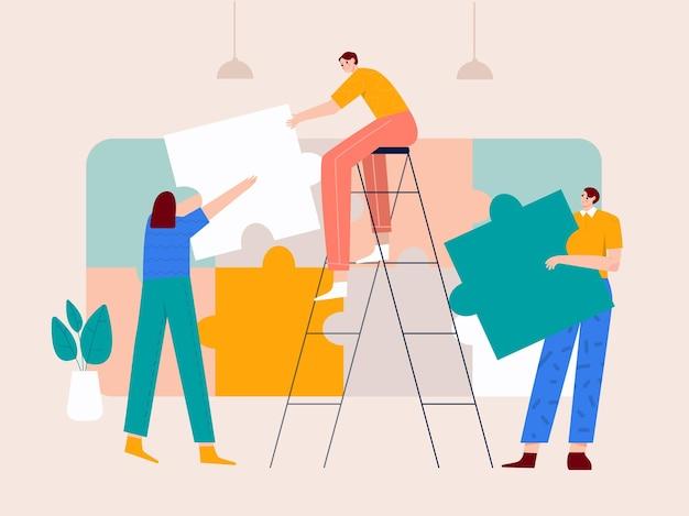 Teamwork oplossen puzzel probleem illustratie
