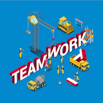 Teamwork plat isometrisch