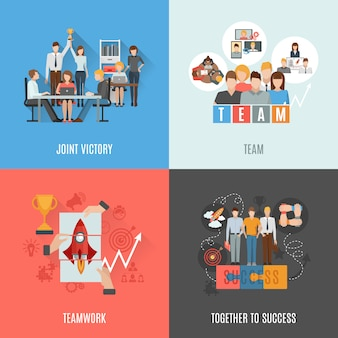 Teamwork plat pictogrammen vierkante samenstelling