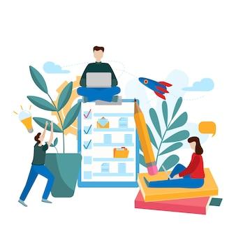 Teamwork project. kleine mensen zoeken naar nieuwe oplossingen, creatief werk.