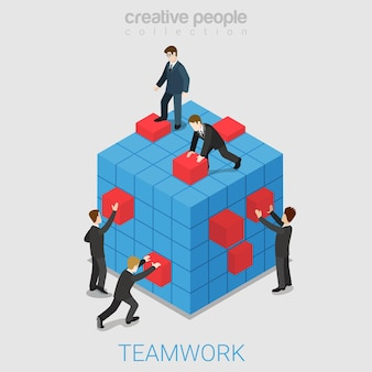 Teamwork projectsamenwerking plat isometrisch Gratis Vector